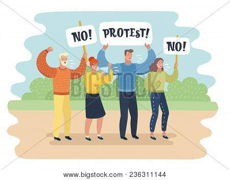 Vector Cartoon Illustration Of Manifestation - A Group Of People Protesting. Man And Woman With Bann