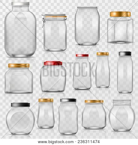 Glass Jar Vector Empty Mason Glassware With Lid Or Cover For Canning And Preserving Illustration Gla