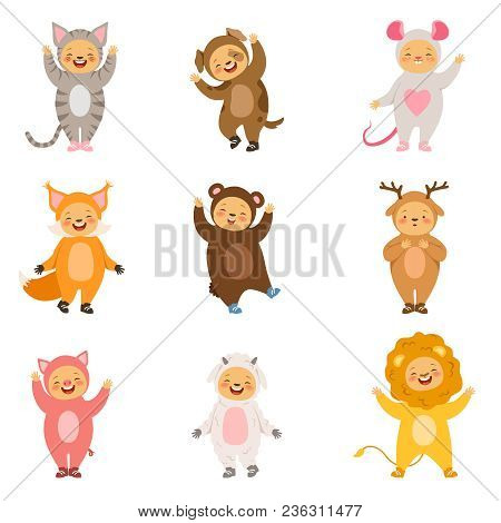 Kids Party Costumes Of Funny Cartoon Animals. Vector Pictures Isolate On White. Illustration Of Cost