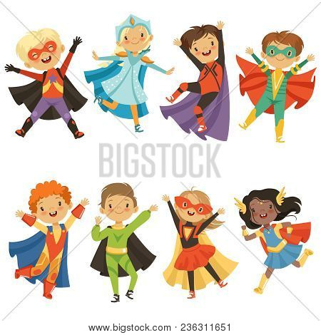 Kids In Superhero Costumes. Funny Characters Isolate On White Background. Comic Character Kids In Su