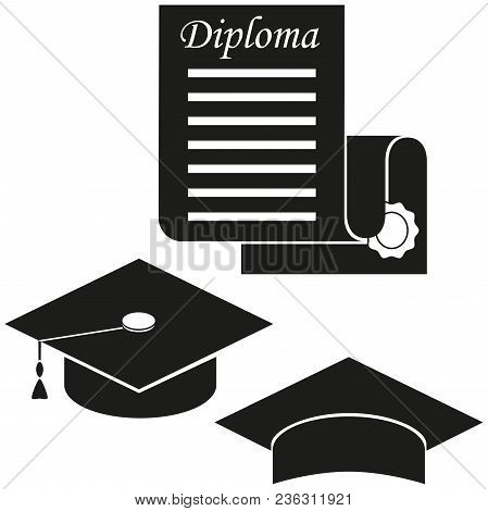 Black And White Graduation Hat And Diploma Silhouette. Graduation Vector Illustration For Gift Card