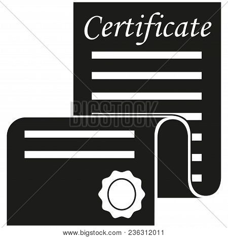 Black And White Open Certificate Scroll Silhouette. Graduation Vector Illustration For Gift Card Cer