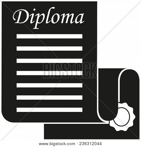 Black And White Open Diploma Scroll Silhouette. Graduation Vector Illustration For Gift Card Certifi