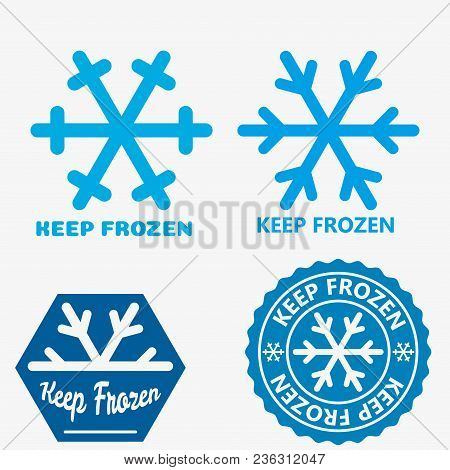 Frozen Product Label Icons. Frozen Food Packaging Symbol Set. Keep Frozen