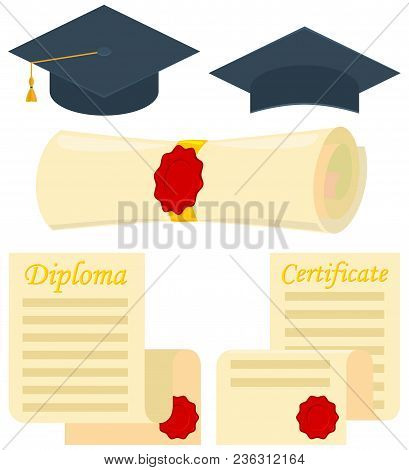 Colorful Cartoon Graduation Set 5 Elements. Education Themed Vector Illustration For Gift Card Certi