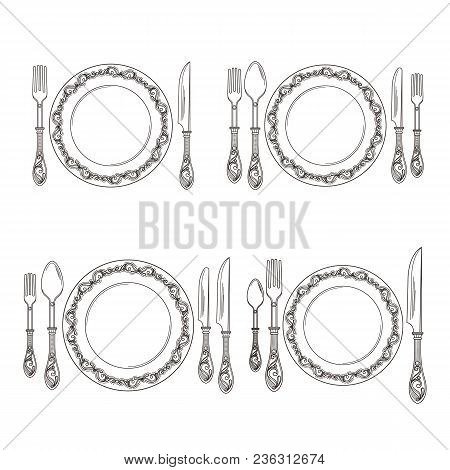 Vector Variations Of Cutlery Arrangement Set Illustration. Restaurant With Fork And Spoon, Cutlery S