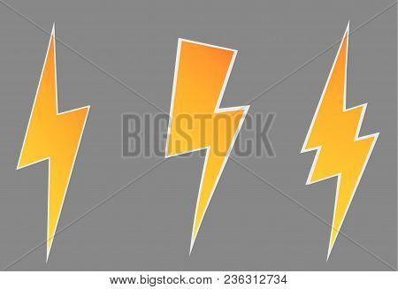 Lightning Flat Icons Set. Simple Icon Storm Or Thunder And Lightning Strike Isolated.