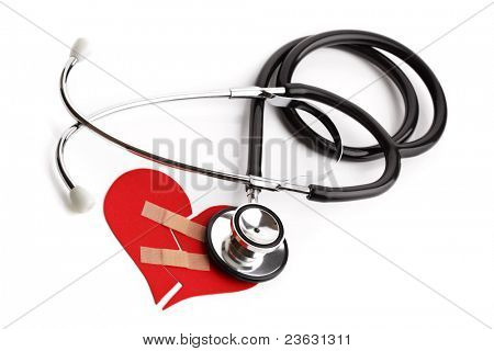 Stethoscope and broken heart concept for heart disease or illness