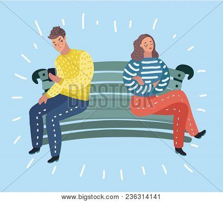Vector Cartoon Illustration Of Couple Quarrel Scene. Dispute Between Lovers, Man,woman Sitting Again