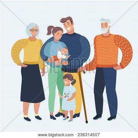 Vector Cartoon Illustration Cartoon, Beautiful Happy Family, Mother, Father, Two Children, Grandpare