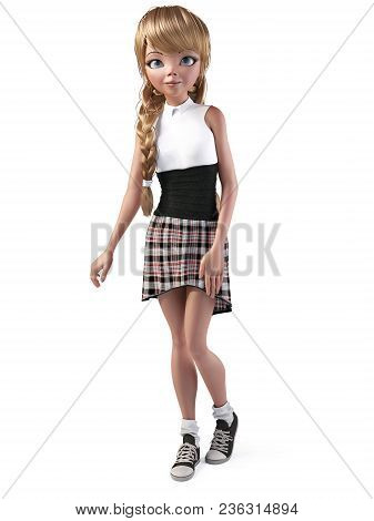 3d Rendering Of A Cute Smiling Teenage Cartoon Girl Wearing A Cool Dress. White Background.