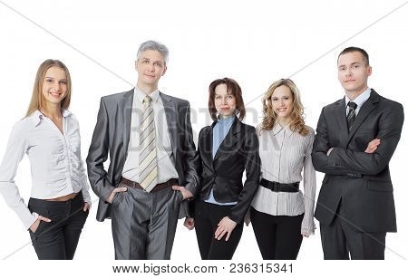 Portrait Of A Successful Professional Business Team.isolated On White Background
