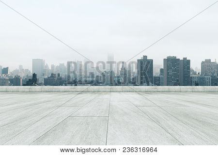 Creative Dull Conrete City Background With Copy Space