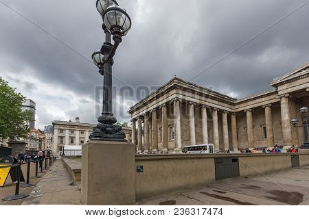 London, England - June 16 2016: Outside View Of British Museum, City Of London, England, Great Brita