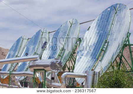Big Solar Water Boilers in modern experimental school in Leh, Ladakh, India. Alternative energy conсept