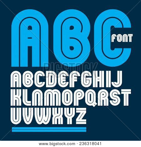 Vector Capital Bold English Alphabet Letters Made With White Lines, Best For Use In Corporate Logoty
