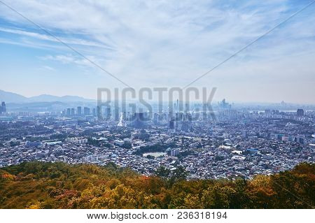 The Beauty Of South Korea, Seoul Cityscape, Contrast View Between City And Nature In Autumn