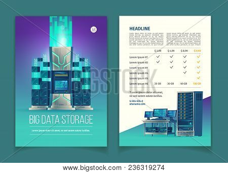 Vector Cartoon Brochure With Server Equipment For Data Processing And Storage, Cloud Services, Datab