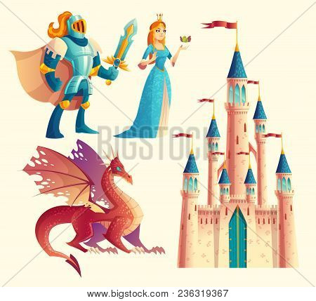 Vector Set Of Fantasy, Fairy Tale Game Design Objects Isolated On White Background. Knight In Armor,