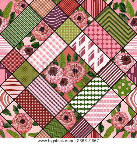 Seamless Patchwork Pattern With  Protea Flowers And Geometric Ornament. Vintage Vector Illustration
