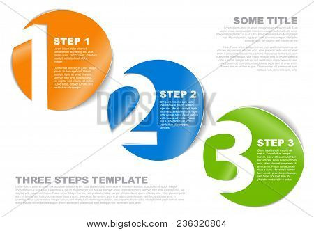 One Two Three - Vector Progress Template For Three Steps Or Options