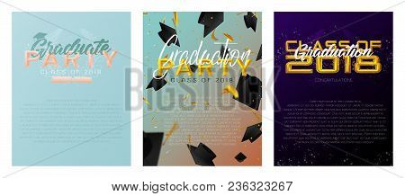 Graduate Caps And Confetti On A Bright Background. Caps Thrown Up. Typography Greeting, Invitation C