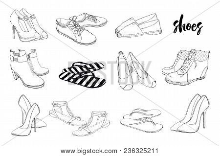 Vector Illustration Of Set Hand Drawn Graphic Men And Women Footwear, Shoes. Casual And Sport Style,