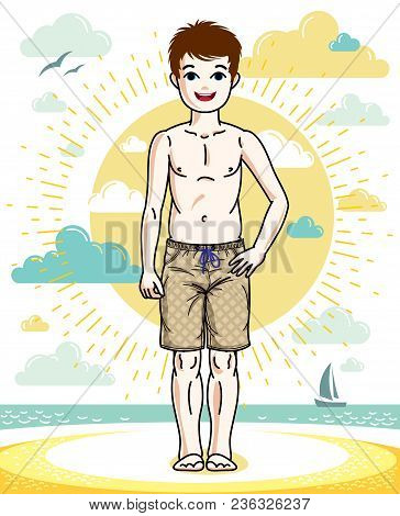 Sweet Little Boy Young Teen Standing In Colorful Stylish Beach Shorts. Vector Attractive Kid Illustr