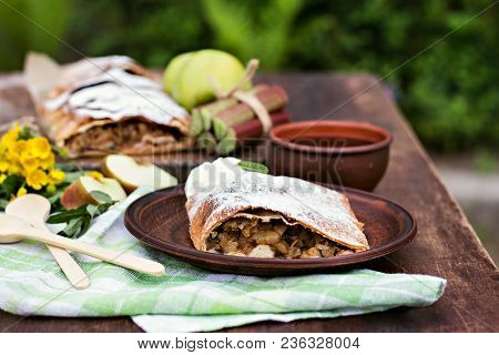 Strudel With Apples, Rhubarb And Mint.