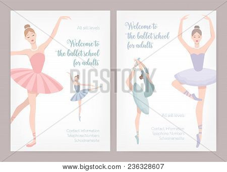 Bundle Of Poster Or Flyer Templates For Ballet School Or Studio For Adults With Elegant Dancing Ball