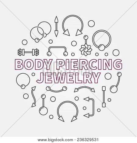 Body Piercing Jewelry Vector Modern Illustration Made With Piercings Cute Icons In Thin Line Style