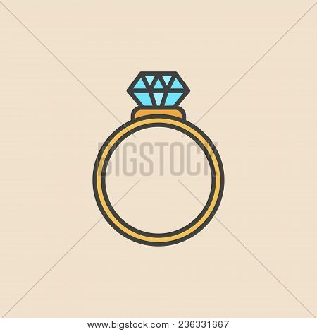 Ring With Diamond Colored Icon. Vector Engagement Ring Flat Concept Symbol Or Logo Element