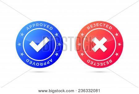 Approved And Rejected Marks, Positive And Negative Labels, Vector Illustration