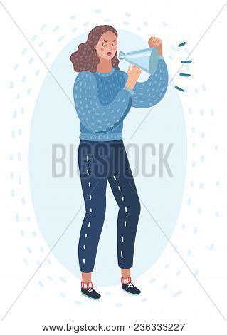 Vector Cartoon Illustration Of Angry Woman Shouts In Loudspeaker. Female Characters Cry In Megaphone