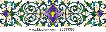 Illustration In Stained Glass Style With Abstract  Swirls,flowers And Leaves  On A Light Background,