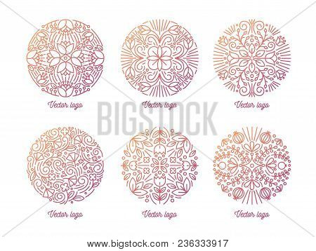 Bundle Of Elegant Round Oriental Ornaments Drawn With Contour Lines On White Background. Set Of Circ