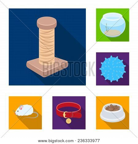 Pet Shop Flat Icons In Set Collection For Design.the Goods For Animals Vector Symbol Stock  Illustra