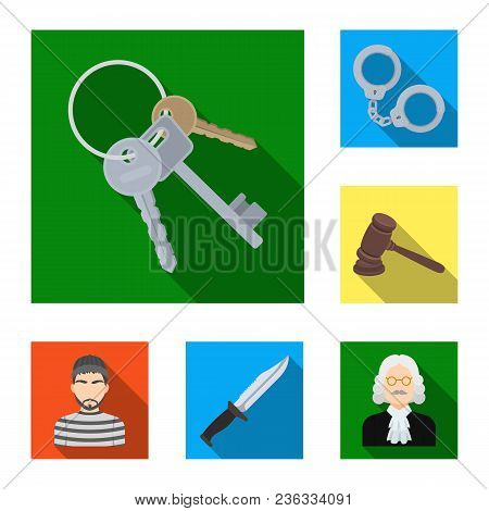 Prison And The Criminalflat Icons In Set Collection For Design.prison And Attributes Vector Symbol S
