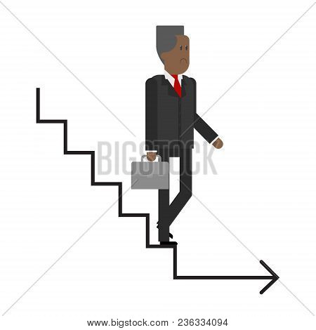 Career Ladder, The Elderly Man Descends The Stairs, Business Man, The Completion Of His Career. Vect