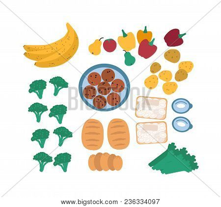 Collection Of Discarded Food For Freegans Isolated On White Background - Fruits, Vegetables, Eggs, B