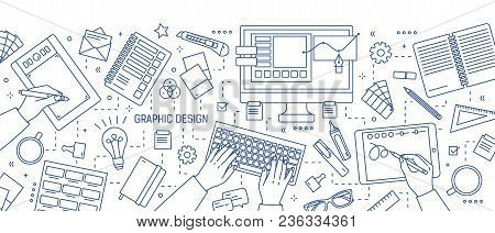 Banner With Hands Of Designer Working In Digital Editor Or Drawing On Tablet, Stationery And Art Too