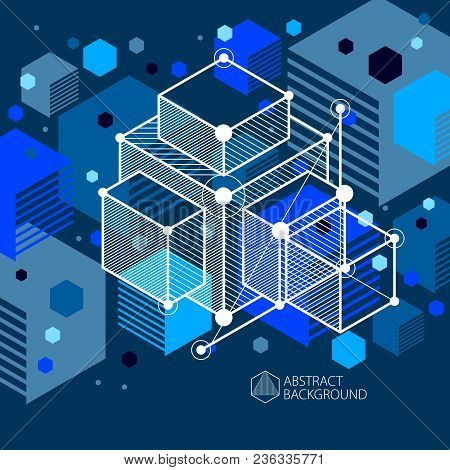 Abstract Geometric Vector Blue Background With Cubes And Other Elements. Composition Of Cubes, Hexag