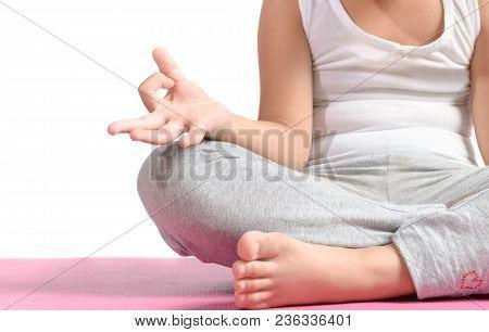 Close Up Hands. Kid Do Yoga.