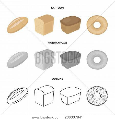 Loaf Cut, Bagel, Rectangular Dark, Half A Loaf.bread Set Collection Icons In Cartoon, Outline, Monoc