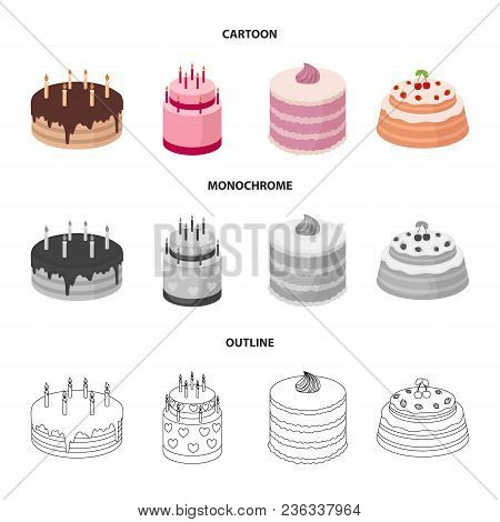 Sweetness, Dessert, Cream, Treacle .cakes Country Set Collection Icons In Cartoon, Outline, Monochro