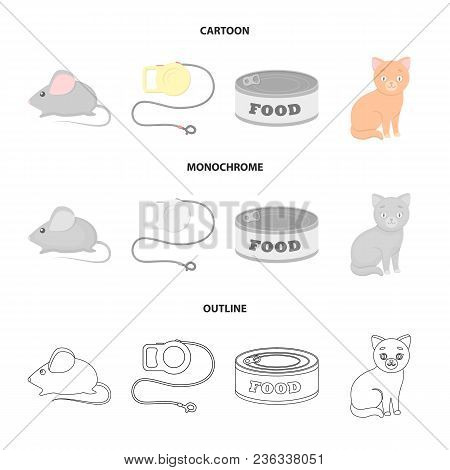 Mouse, Pet Leash, Pet Food, Kitten. Cat Set Collection Icons In Cartoon, Outline, Monochrome Style V