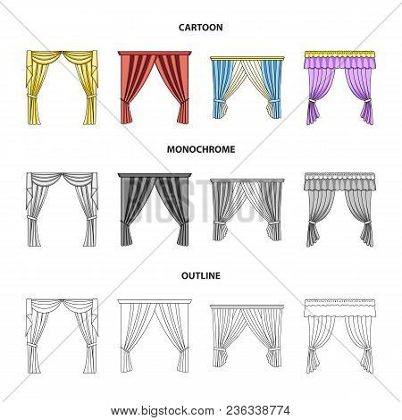 Different Types Of Window Curtains.curtains Set Collection Icons In Cartoon, Outline, Monochrome Sty