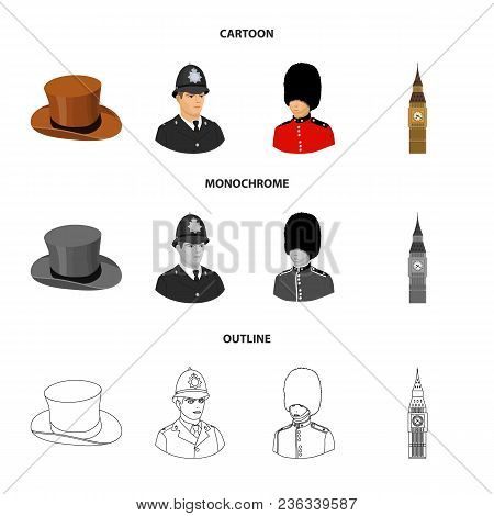 England, Gentleman, Hat, Officer .england Country Set Collection Icons In Cartoon, Outline, Monochro