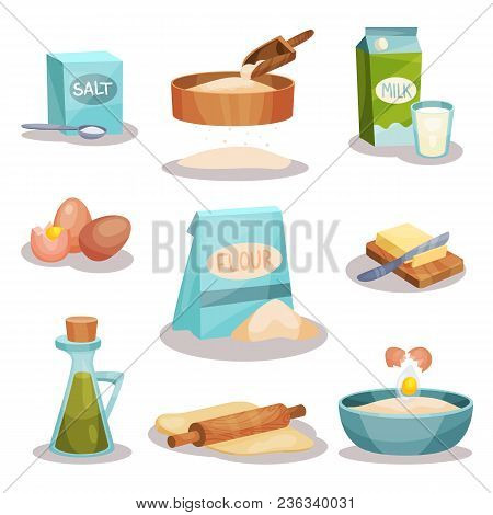 Bakery Set, Kitchen Utensils And Food Ingredients For Baking And Cooking Vector Illustrations Isolat