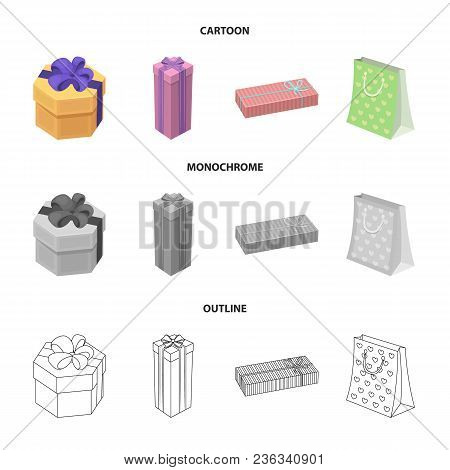 Gift Box With Bow, Gift Bag.gifts And Certificates Set Collection Icons In Cartoon, Outline, Monochr